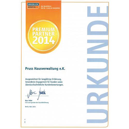 Pruss Hausverwaltung Premium Partner 2014