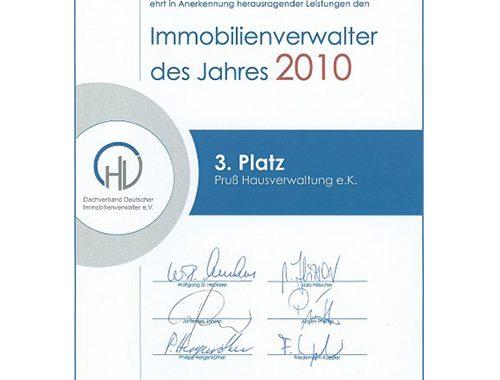 Pruss Hausverwaltung Immobilienverwalter des Jahres 2010